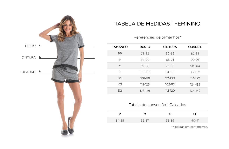 Tabela de Medidas Feminino