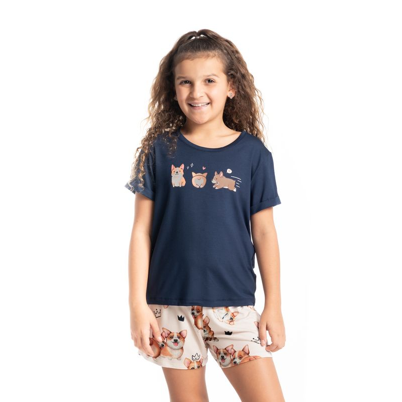 Pijama-Infantil-Feminino-Curto-Estampado-Corgi-Daniela-Tombini