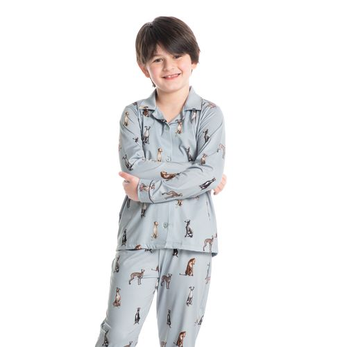 Pijama-Infantil-Unissex-Abotoado-Longo-Estampado-Galgo-Daniela-Tombini