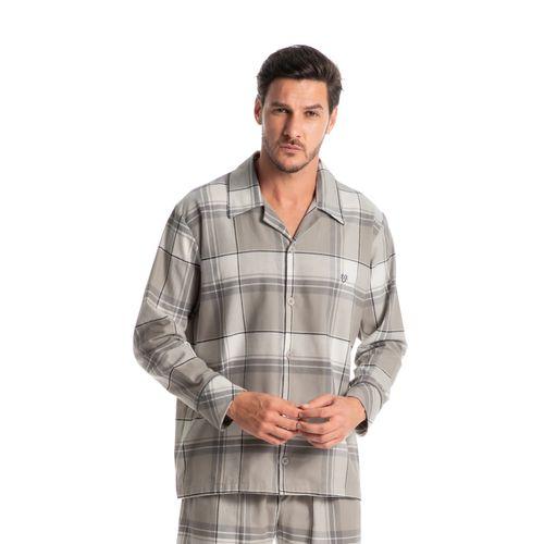 Pijama-Masculino-Longo-Abotoado-Xadrez-Grey-Daniela-Tombini