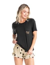 pijama curto feminino de malha e estampado