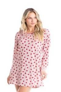pijama tipo camisa rosa em poá