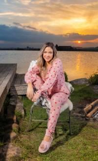 pijama feminino manga longa rosa