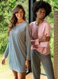 Pijama feminino e camisola lisa
