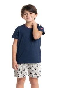pijama infantil verao azul estampa de âncora