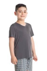 pijama curto infantil masculino cinza