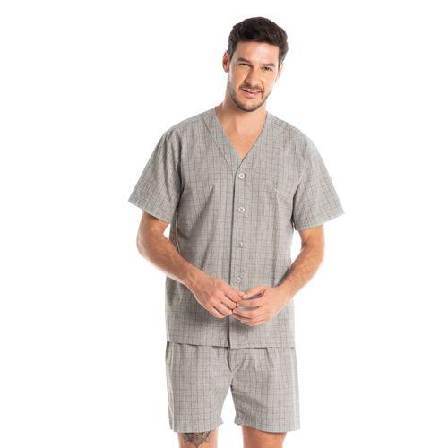 Pijama-Masculino-Abotoado-Curto-Xadrez-Antonio-Daniela-Tombini