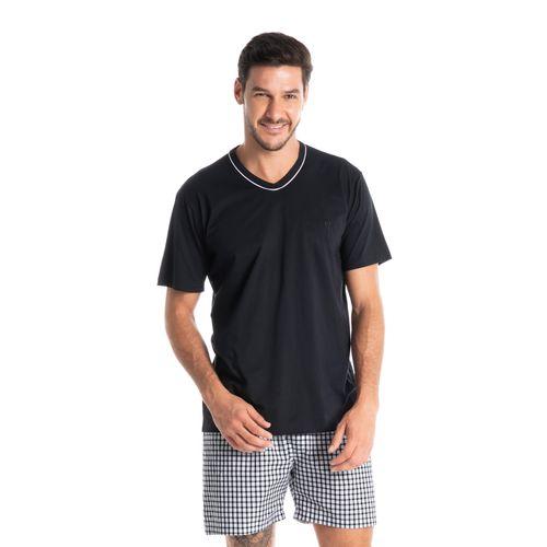 Pijama-Masculino-Decote-V-Curto-Xadrez-Jackson-Daniela-Tombini