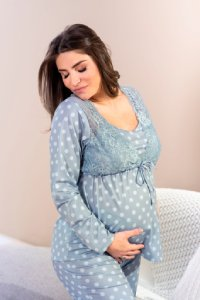 camisola longa maternidade azul em poá