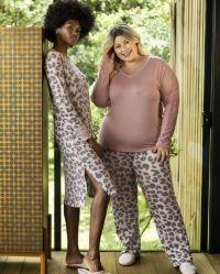 pijama feminino pescador plus size animal print