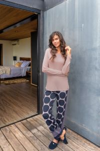 pijama feminino calça pescador azul