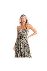 vestido casual longo animal print